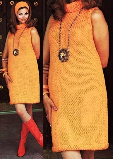 KNITTING PATTERN - Orange Sweater Dress - Chunky Knit Cowl ...