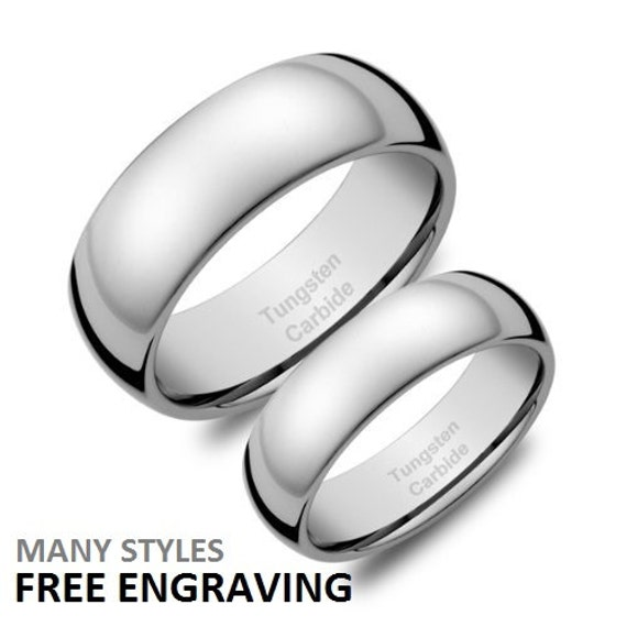 Tungsten carbide wedding band set tungsten rings by for Tungsten carbide wedding ring sets