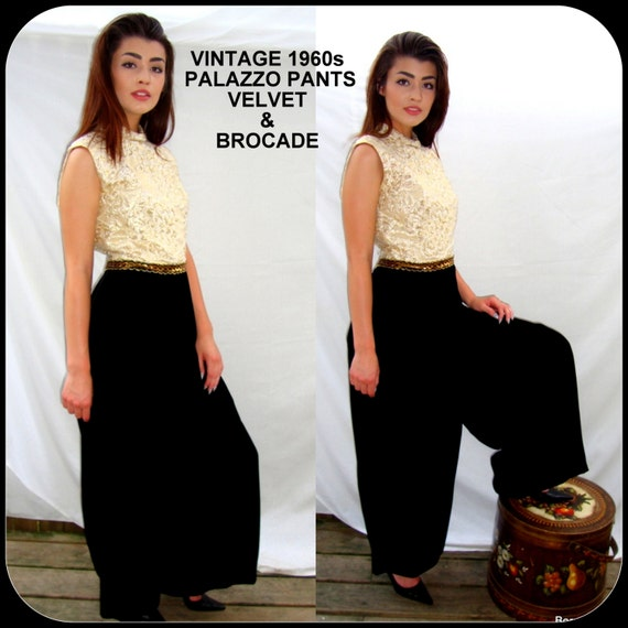vintage black palazzo pants, dress,formal, 1960s, velvet, brocade, mad men, mod,  party, cocktail,  boho, rocker, club, noir, size Medium