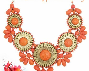 Coral Bib Statement Necklace -  Big Bold Chunky Tribal Style Statement Necklace - Bubble Necklace