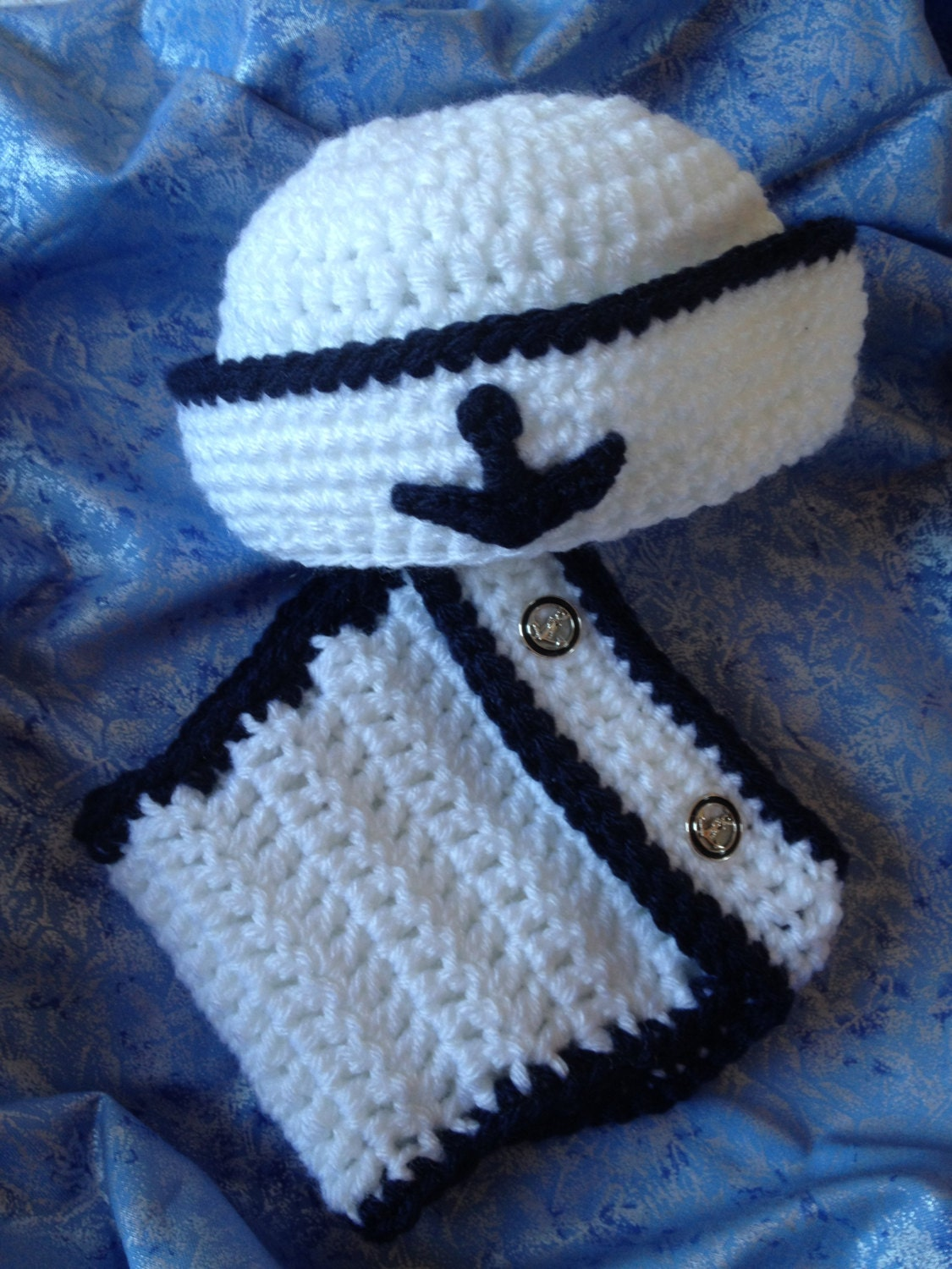 Sailor Set Crochet Hat and Diaper Cover Set White and Navy