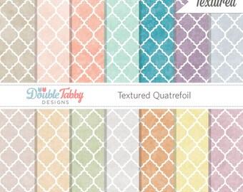 Textured Quatrefoil digital paper pack instant download scrapbook printable