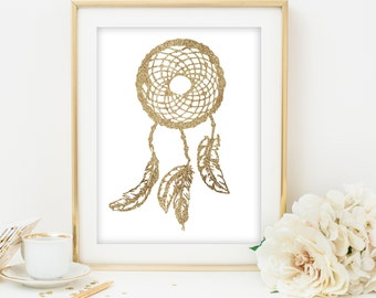 dream catcher print gold dream catcher gold glitter dreamcatcher printable Tribal Wall Art gold and white print gold print gold art print