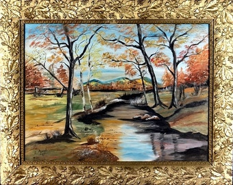Amazing Large ca.1981 Creek near the Mountains Impressionist Painting Oil/Canvas w/Frame