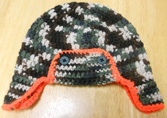 Crochet Baby Hunting Hat Pattern : Crochet Baby Camouflage Camo Hunting Earflap Hat by ...