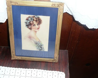 Antique/Vintage 1920's Young Lady in Frame