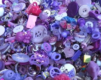 25 Charms Grab Bag - Purple Lavender Lilac Kitsch Trinkets for DIY Charm Bracelets - Mystery Charms Assortment - Purple Charms Mix