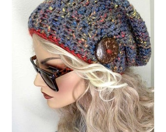 New! Super Cute Slouchy Beanie Hat, Women's Winter Hat, Bohemian Chic, Hand Crocheted Hat, Cable Brim Hat, Knit Hat, Accessories