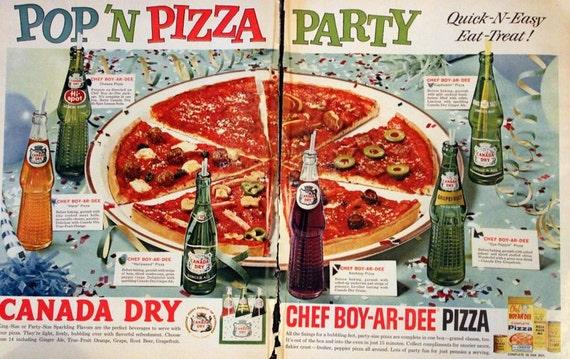1961 chef boyardee pizza kit et canada sec ad ginger ale for Fourniture pizzeria