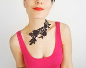Lasata // Dark Gray Lace Necklace/ Statement Necklace/ Floral Necklace/ Women Accessory/ Women Fashion/ Girlfriend Gift/ Gift For Her