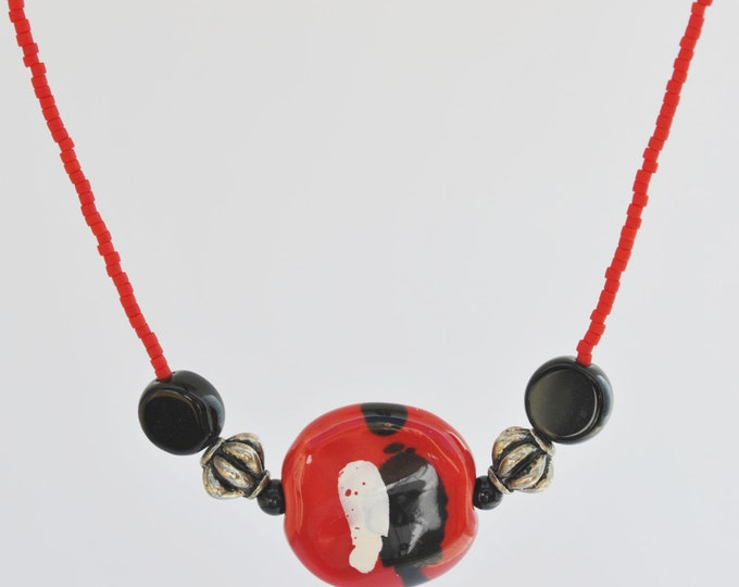 Red and Black African Kazuri Ceramic Necklace Set