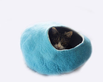 Cat Cave Bed House Teal wool with FREE Ball Toy