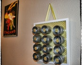 "Magnetic Spice Rack/ Organizing Rack with Coordinating Cabochon Pieces: ""Daffodil"""