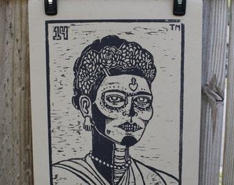 La Muerte, Frida Kahlo-Inspired, Loteria (Mexican Bingo) Woodblock Print, Ready-to-Ship