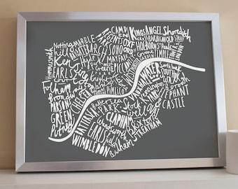 A3 London print - London map - London poster - London Art