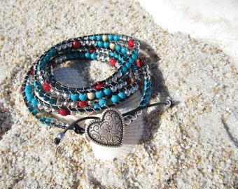 Turquoise and coral wrapped Bracelet