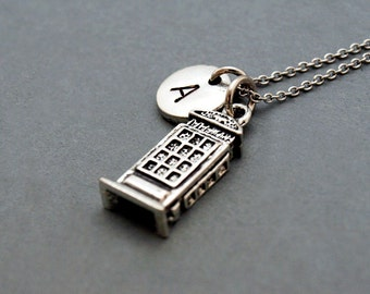 London phone booth necklace, Red telephone box, public phone, initial necklace, hand stamped, personalized, monogram