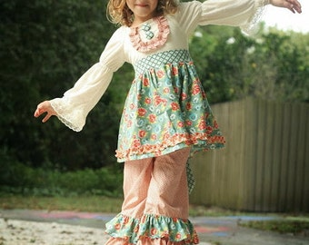 Sale...Buy 2 Get 1 Free Instant Download PDF Sewing Pattern Four Seasons Flat Front KNIT Peasant Top Dress, Girl's 0-3m to 12