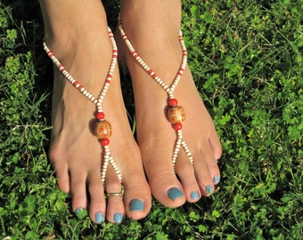White and Red Wooden Barefoot Sandals, Slave Anklet, foot jewelry, ankle bracelet with toe ring