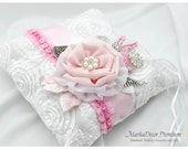 READY TO SHIP Wedding Bridal Lace Luxury Ring Pillow Custom Brooch Bearer Pillow with Jewels, Crystals, Beaded Flowers in White and Pink