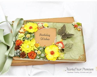 READY TO SHIP Personalized Wedding/ Birthday / Anniversary Lace Guest Book and Box Set Custom Bridal Flower Guest Books with a Name Plate