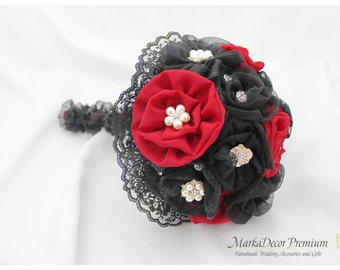 Medium  Wedding Brooch Bouquet Lace Bridal Bridsmaids Custom Bouquet with Jewels, Flowers, Brooches in Brick Red and Black