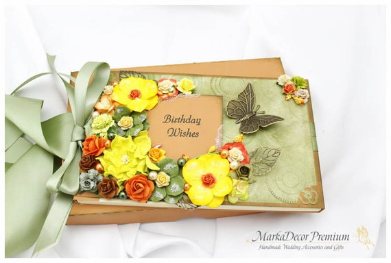 Personalized Wedding/ Birthday / Anniversary Lace Guest Book and Box Set Custom Bridal Flower Guest Books with a Name Plate