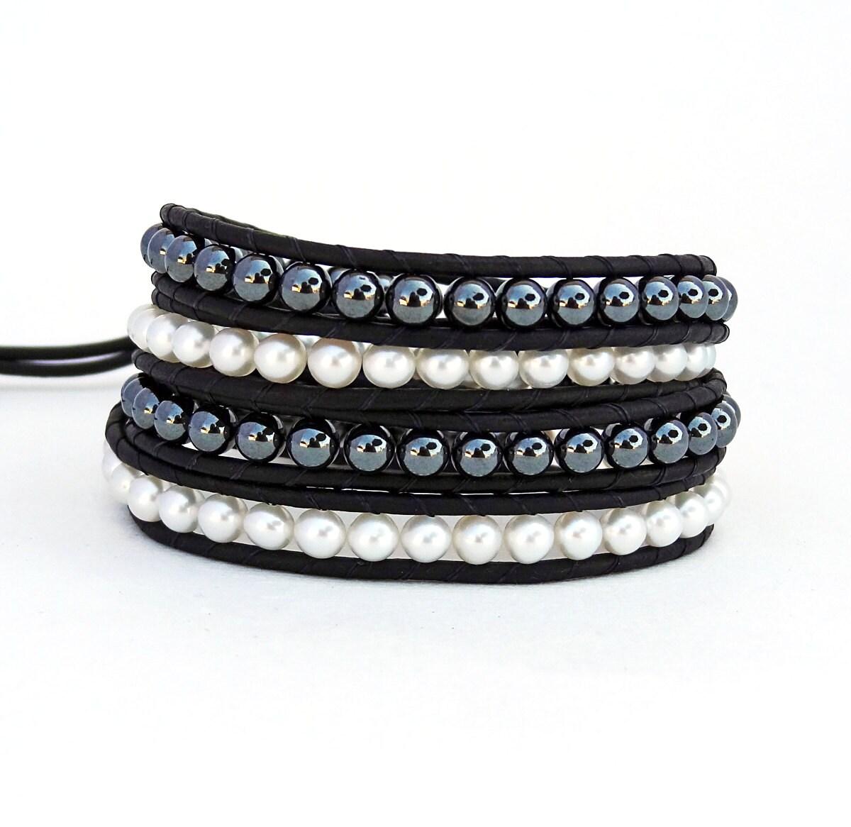 pearl wrap bracelet leather and pearl bracelet black and. Black Bedroom Furniture Sets. Home Design Ideas