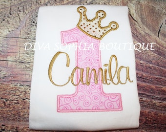 Personalized Pink and Gold Crown Number Bodysuit / T-shirt  - Birthday Onesie - Tshirt - Toddler