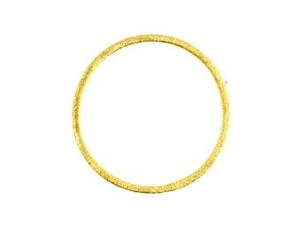Brushed Gold Vermeil Circle, Gold Link, Circle Pendant, size: 30mm & 20 mm - 4 Links