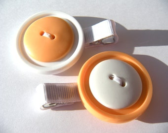 White and Orange Button Hair Clip Set - White and Orange Hair Clips - No Slip Grip Clip
