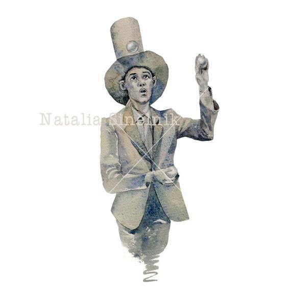 Silver juggler man portrait digital download from original watercolor avatar or tshirt design, circus clawn clipart