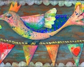 Blessings, Colorful Whimsical Bird Print of My Mixed Media Bird Painting