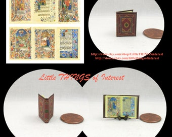 Miniature Book -- MEDIEVAL ILLUMINATED Book of Hours Miniature Book Dollhouse 1:12 Scale Readable Illustrated Book