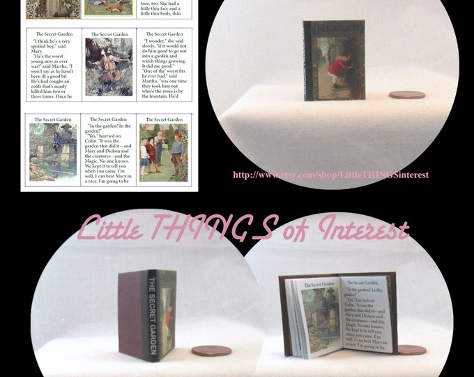 THE SECRET GARDEN Book in 1:6 Scale - Blythe - Momoko - Pullip - Barbie - American Girl Scale Readable Illustrated Book