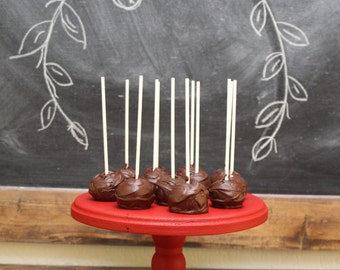 Round Wooden Cake Stand / 6 inches tall