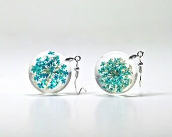 Real Flower Earrings, Resin Real Plant Earrings, Dried Flower Earrings, Dried Flower Jewelry, Flower Earrings, Queen Anne's Lace Jewelry