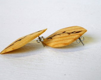 Recycled Leaf Wooden Earrings Burned Leaf Design One of a kind up-cycled jewelry