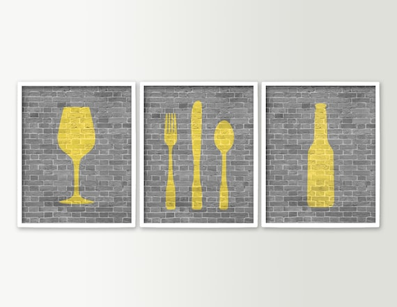 Modern dining room art kitchen prints beer wine fork knife for Kitchen and dining room wall decor