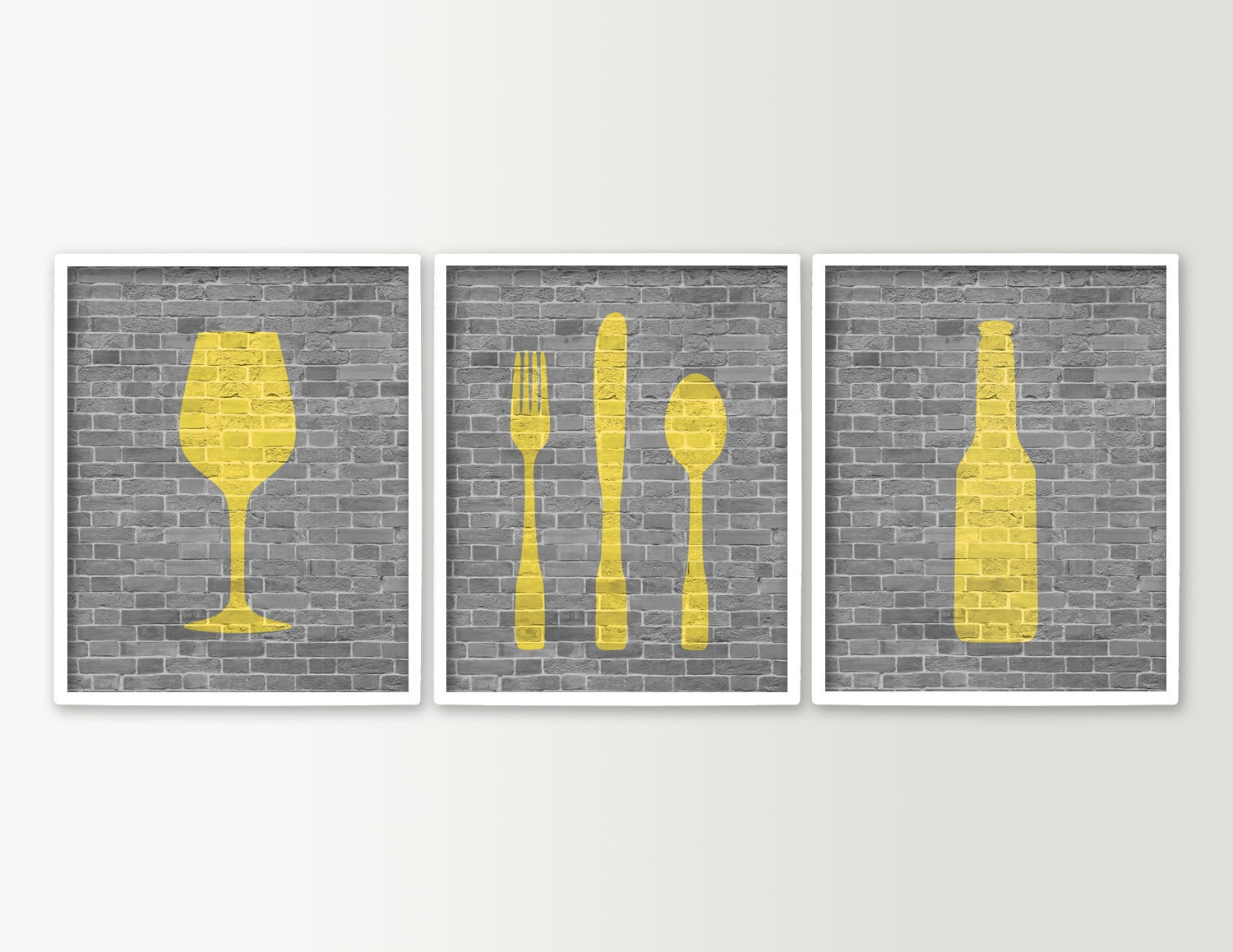 Modern dining room art kitchen prints beer wine fork knife for Kitchen wall art sets