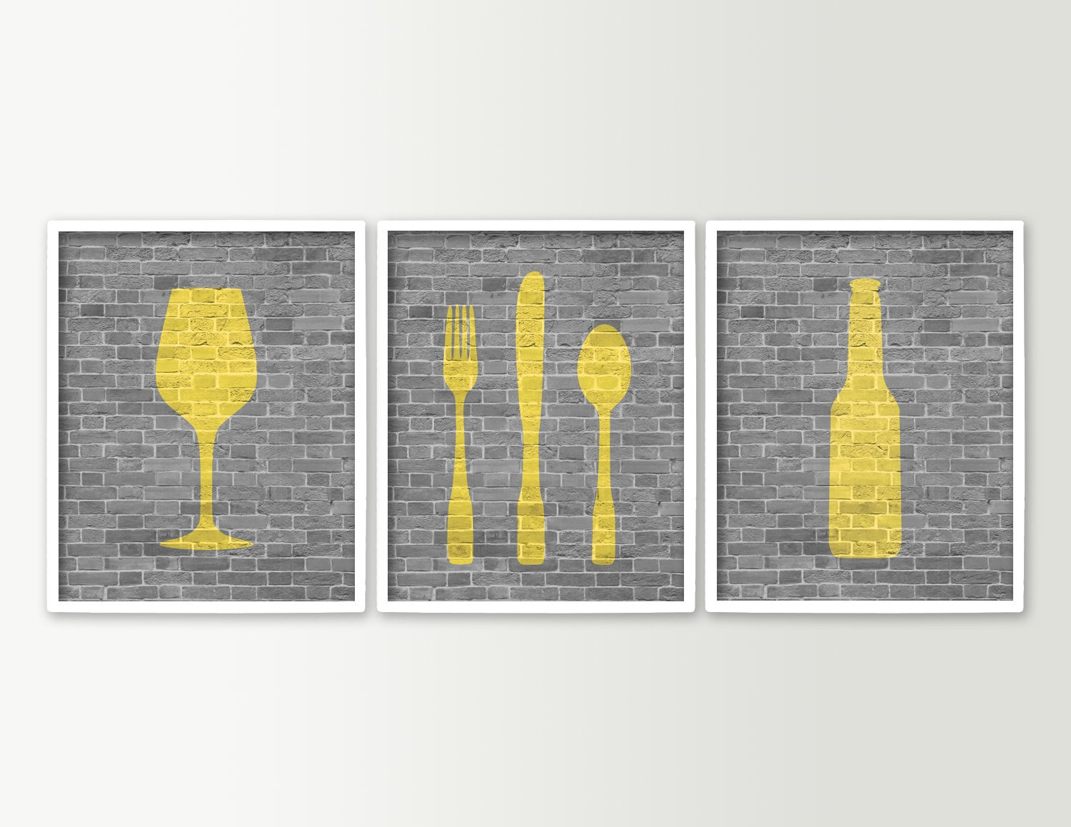 Modern dining room art kitchen prints beer wine fork knife for Wall art for dining room contemporary