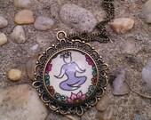 Lotus Yoga Pose Necklace Namaste Art Floral Design Henna Mehndi Vintage Style Hand Drawn Handmade Jewelry Happiness Symbolism
