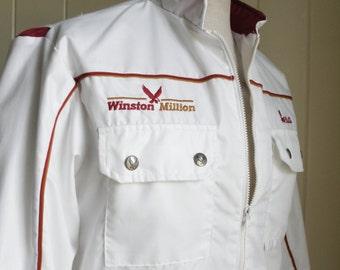 NASCAR Winston Million White Windbreaker Jacket Women Sz Med