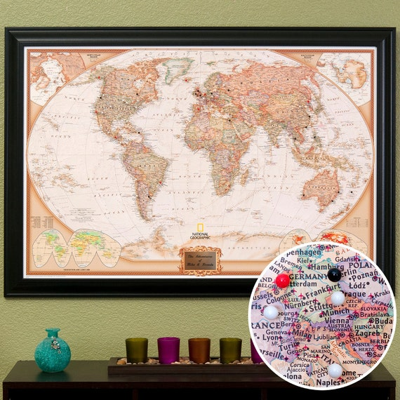 Personalized World Travel Map with Pins and by ...