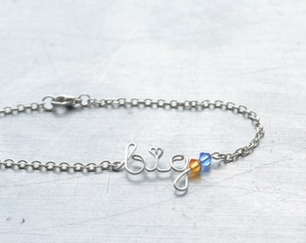 Sorority Big Sister Bracelet • Birthstone Bangle • Sorority Gift Jewelry • Big Little Reveal • Big Little Sister Gifts