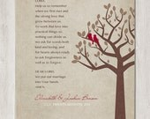 Family Tree with Love Birds - Personalized Wedding Prayer - PRINTABLE Digital File - Home Decor Wall Art Wedding Gift - Brown and Tan