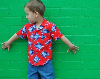 Boy's shirt sewing pattern The Thomas Shirt pdf sewing pattern, shirt pattern for 2 to 14 years. Hawaiian Shirt children's sewing pattern
