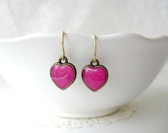 Fuschia heart earrings- Cute hot pink dangle hearts- Girly feminine jewelry