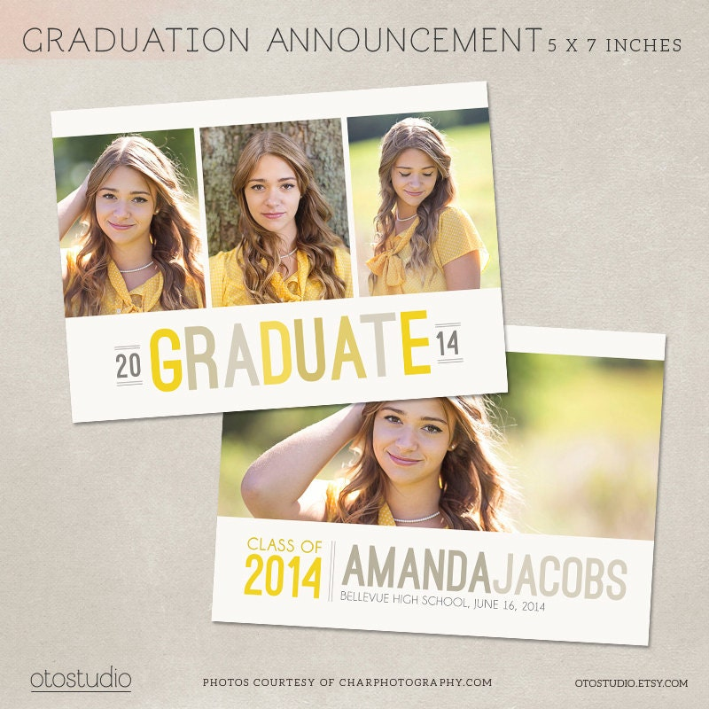 Graduation announcement template photoshop photo card for Free senior templates for photoshop