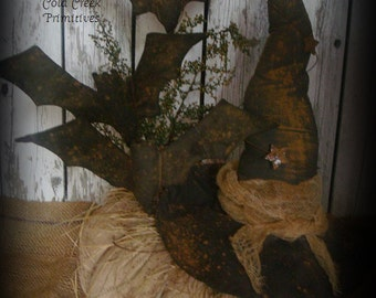 Primitive White Pumpkin With Witch's Hat & Flying Bats